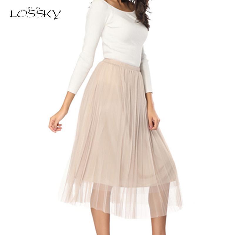 fc87c87c4 Faldas de tul para mujer Adultos Falda de tul elástica plisada Midi Falda  Nuevo elástico Verano Vintage Negro Mesh Faldas Saias Midi