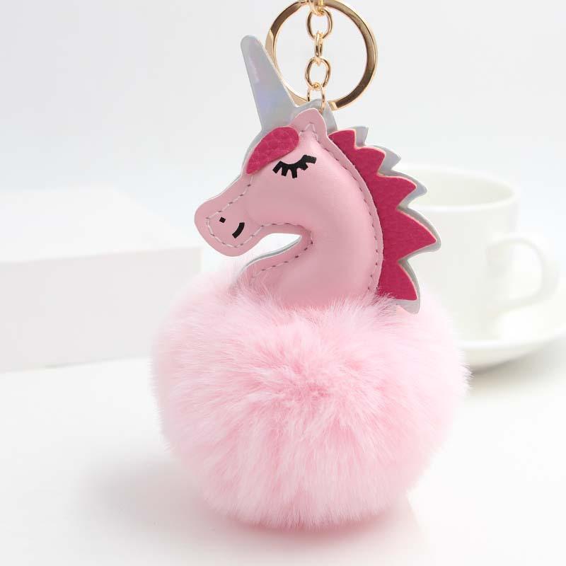 a0dd9a7e48 Cute Fluffy Fur Unicorn Keychain Faux Rabbit Fur Ball Pom Pom Horse Key  Chains Bag Charms Llaveros Mujer Trinket Car Key Ring Leather Key Chain  Leather Key ...
