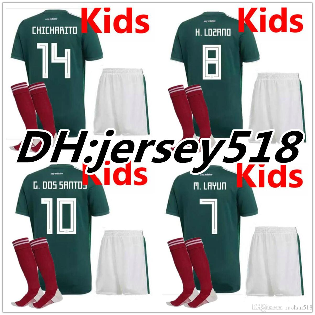 2018 World Cup Mexico BOYS Football Jersey Kids Kit Home Green 2017  CHICHARITO G.DOS SANTOS R.MARQUEZ Mexico Soccer Jersey Child Kit UK 2019  From Ruohan518 973cb629b