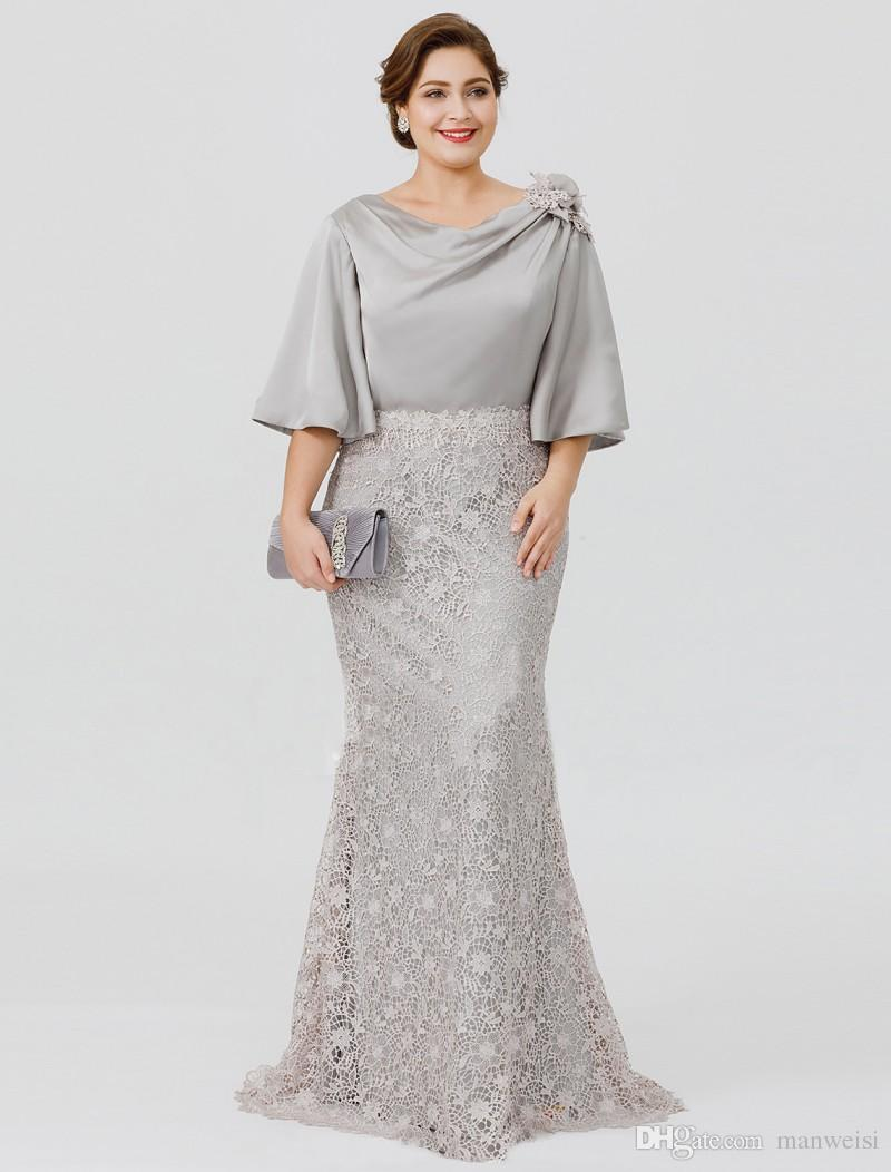 2019 New Silver Elegant Mother Of The Bride Dresses Half Sleeve Lace  Mermaid Wedding Guest Dress Plus Size Formal Evening Gowns Plum Mother Of  The ...