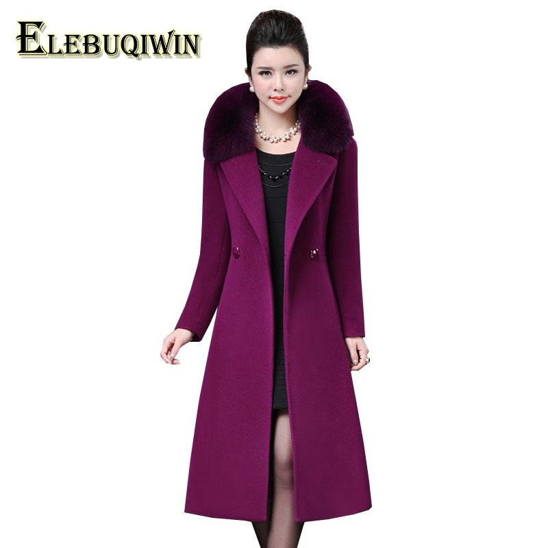 3548d38958f 2019 Plus Size 4XL Middle Aged Womens Woolen Coat Winter 2018 New Imitation  Fox Fur Collar Wool Overcoat Long Slim Woolen Jacket LS10 S18101203 From ...