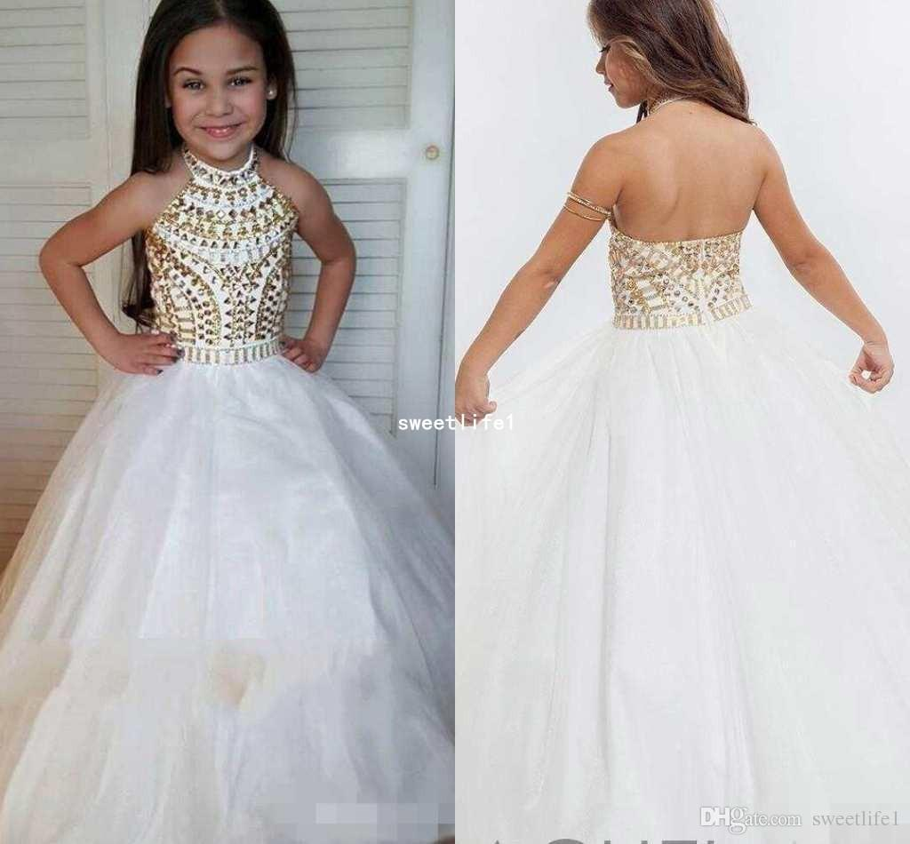 2019 White Tulle Halter Girls Pageant Dresses Sparkly Gold Crystal Beads Sleeveless Backless Ball Gown Kids Formal Wear Flower Girls Dresses