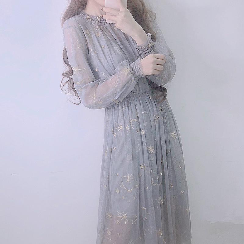 Sexy S920 Tüll Kawaii Mode Frühling Japanische Lange Weibliche Frauen Stickerei Midi Vintage Party Kleider Fairy Galaxy Dress hdtrQs