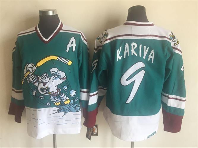 New ANAHEIM DUCKS Vintage Jersey  9 Kariya  8 Selanne Hockey Jerseys ... 34d077abf