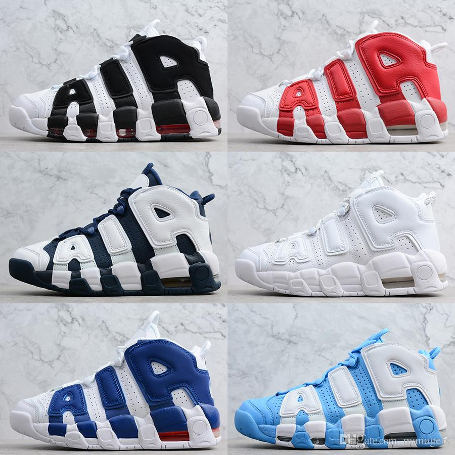 huge selection of bee2a b5a84 2019 2019 Air More Uptempo Basketball Shoes OG Mens Pippen Chicago UNC Tri  Colors Triple White Black Shattered Scottie 96 OG Boots Size US5.5 11 From  ...