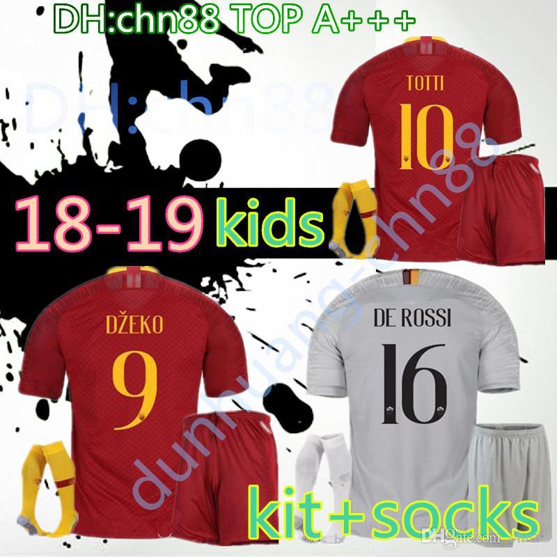 3c0e8c9c34f 18 19 ROME Home Away Kids Kit+socks Soccer TOTTI ROMA DZEKO HOMW ...
