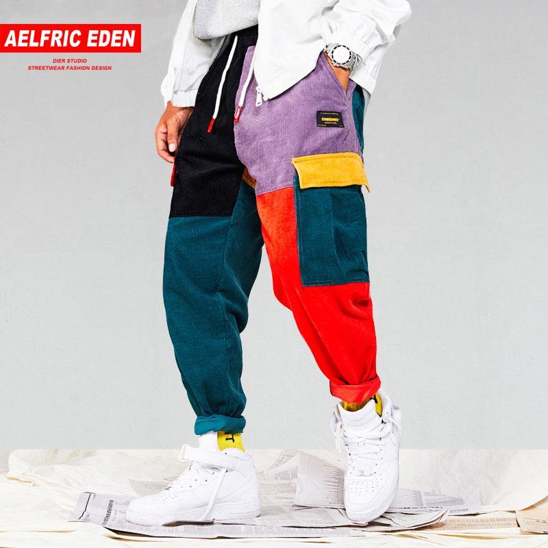 c895a1e9574e50 Acquista Aelfric Eden Uomo Pantaloni Cargo Patchwork In Velluto A Coste  Pantaloni Cargo 2018 Harem Pantaloni Sportivi Harajuku Pantaloni Sportivi  Hip Hop ...