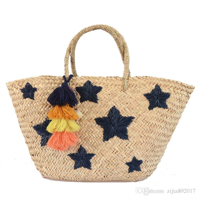 New Summer Handmade Bags Big Large Women Tassel Beach Weaving Ladies Straw  Bag Wrapped Beach Bag Wholesale Drop Shipping E97 New Summer Handmade Bags  ... 0d5a8ee66df4e