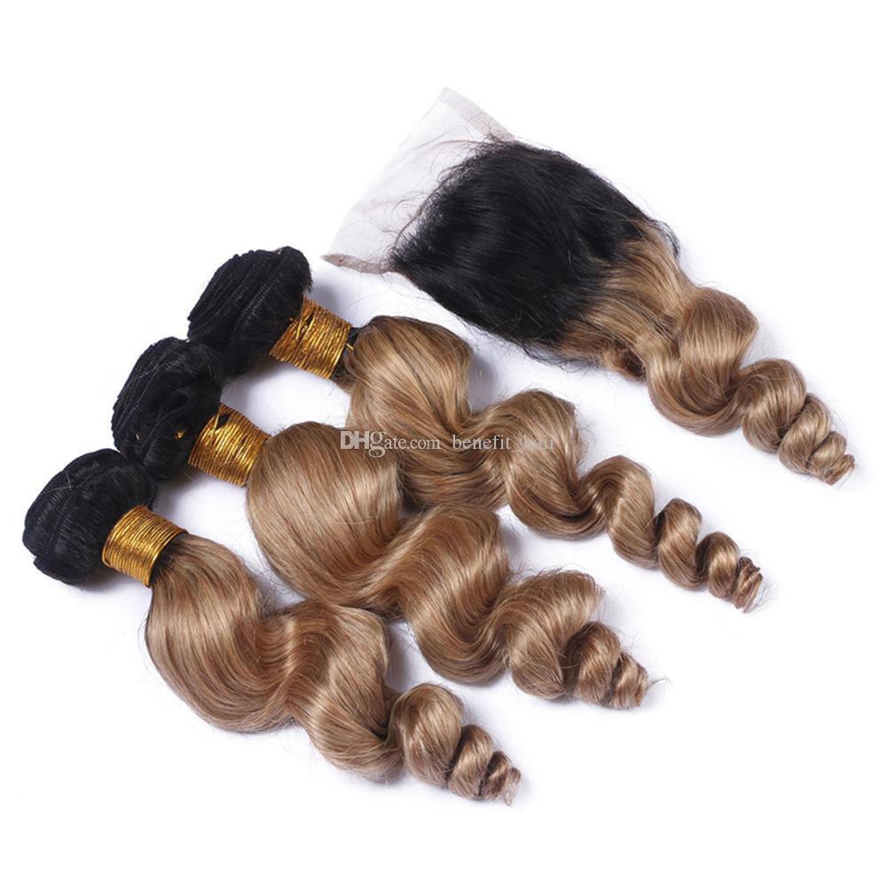 Koyu Kökleri 1B 27 Saç Örgüleri Ile Dantel Kapatma Ombre Sarışın Renk 1B 27 İki Ton Kapatma Ile Gevşek Dalga Saç 3 Demetleri