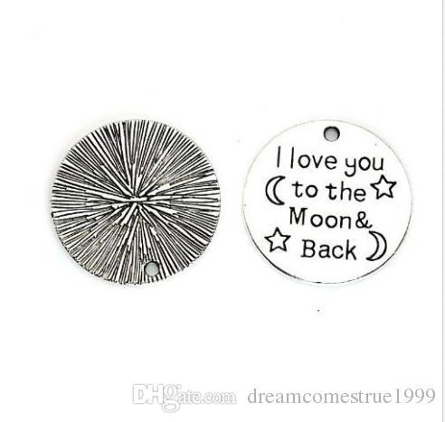 سبيكة أنا أحبك إلى القمر والعودة السحر العتيقة الفضة سحر قلادة للقلادة صنع المجوهرات النتائج 25MM
