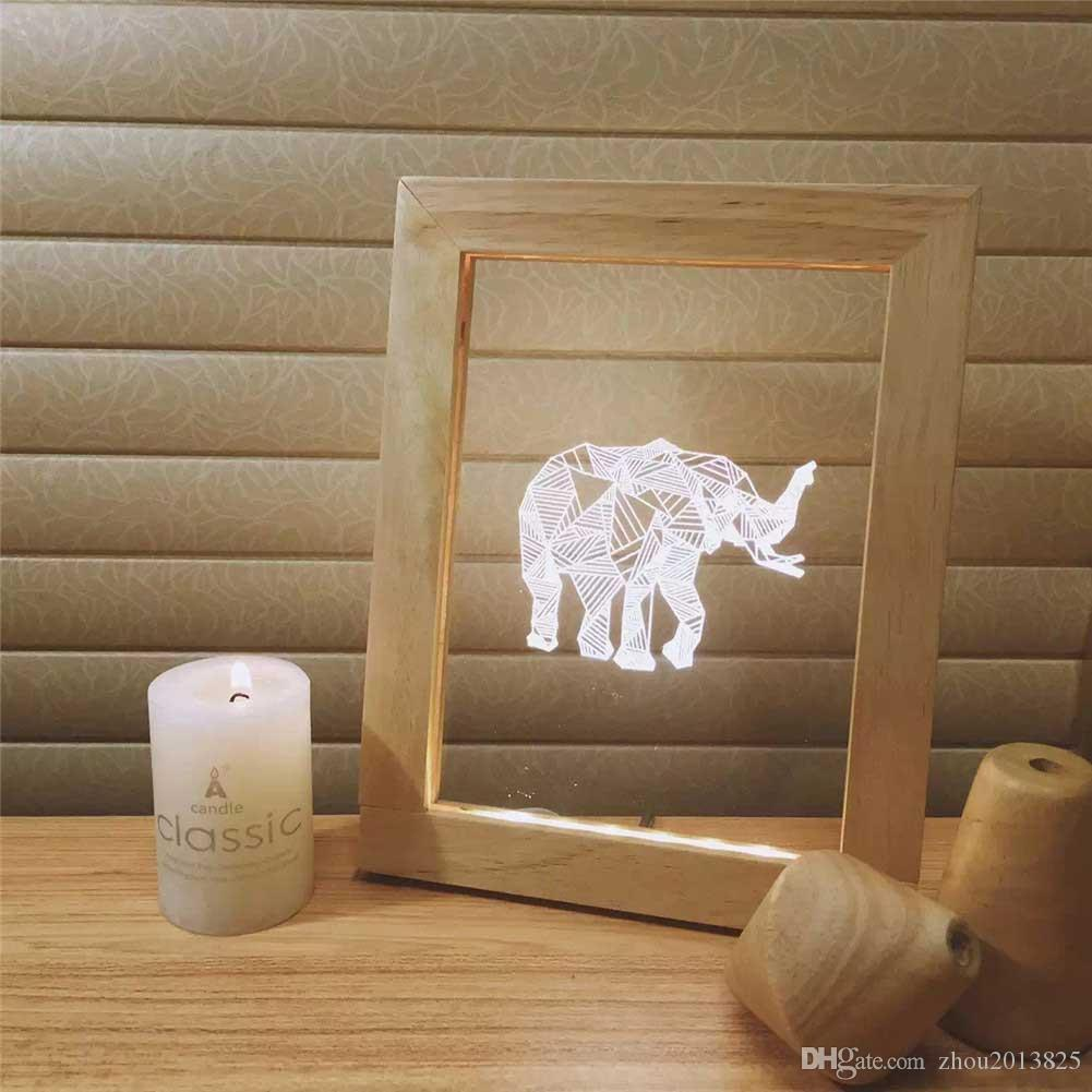 New 3d creative novelty warm led acrylic table lamp light unique new 3d creative novelty warm led acrylic table lamp light unique decorative album frames night lights elephant 3d photo light led picture frame light photo jeuxipadfo Image collections