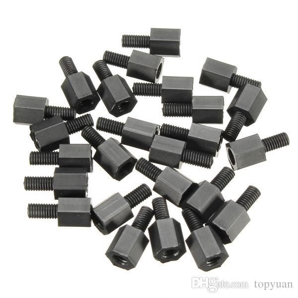 6mm M3 Nylon Screw Black Hex Screw Nut Nylon PCB Standoff Assortment Kit