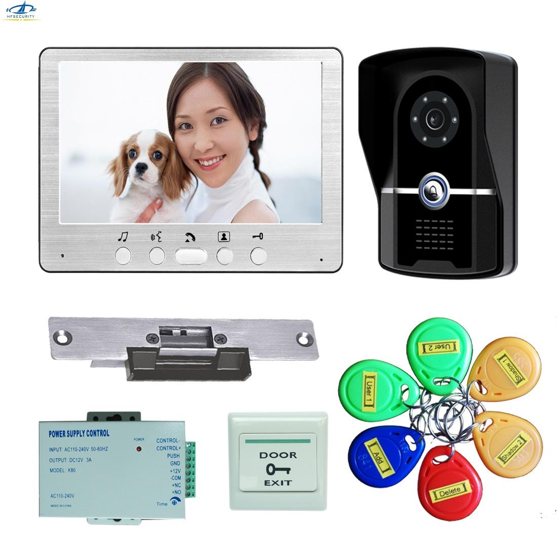 7 Inch Wireless Video Door Bell Video Intercom Electric Lock RFID Access Doorbell Home Security Waterproof Intercom System