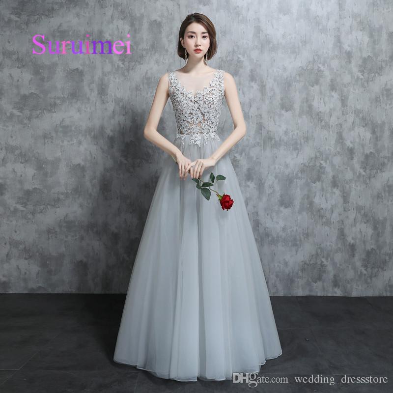 Real Samples 2018 A Line Scoop Prom Dresses Robe De Soiree Appliques ...