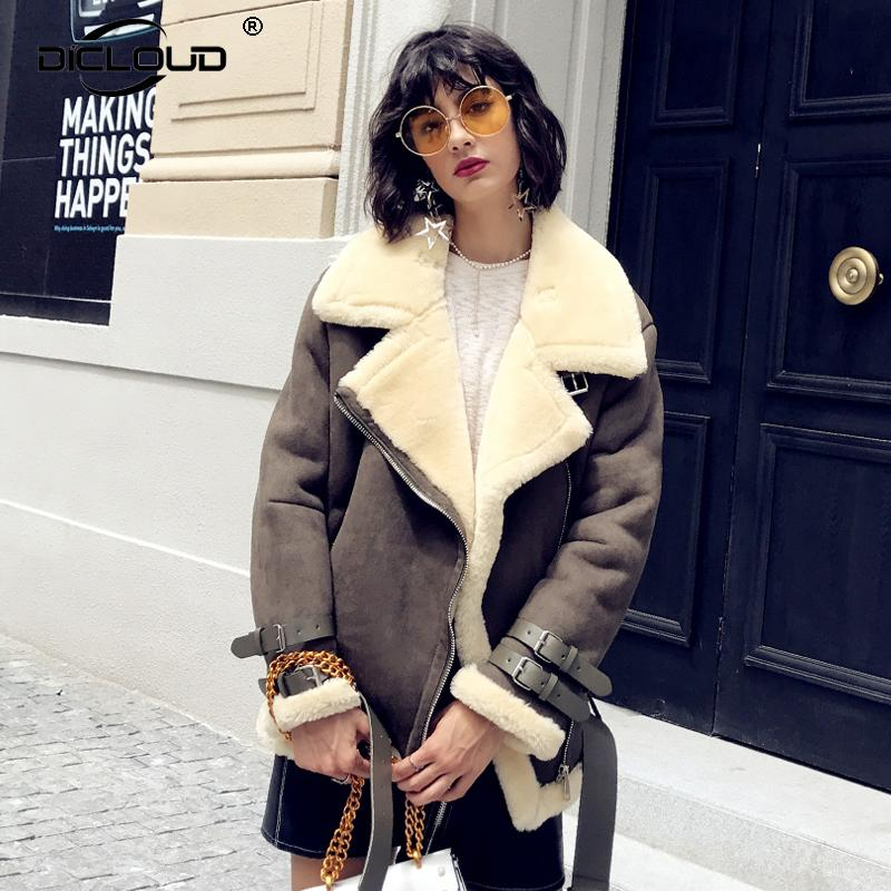 1bec351196 2017 Women Winter Trendy Shearling Jackets Coats Oversize Fluffy Faux Fur  Jackets Coats Suede Outerwear Thicken Fur Lining