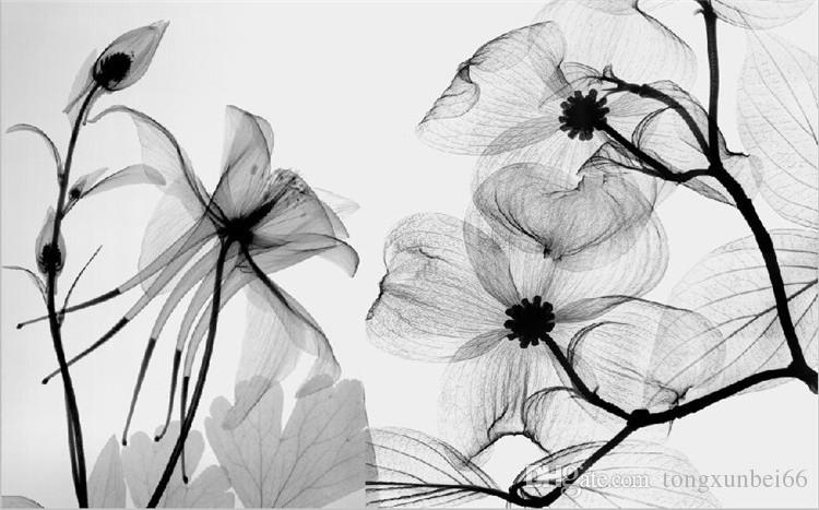 Black White flower 3D Abstract Photo Mural Wallcoverings Wallpapers Murals Wall Paper Roll Bedroom Wall Decor Custom Any Size