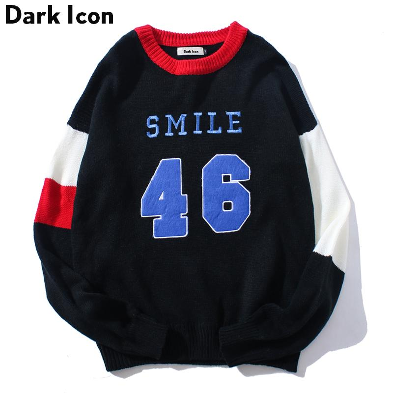 DARK ICON Number 46 Color Block Pullover Men's Sweater 2018 Winter Preppy Style Sweaters for Men Casual Sweater Man Black White