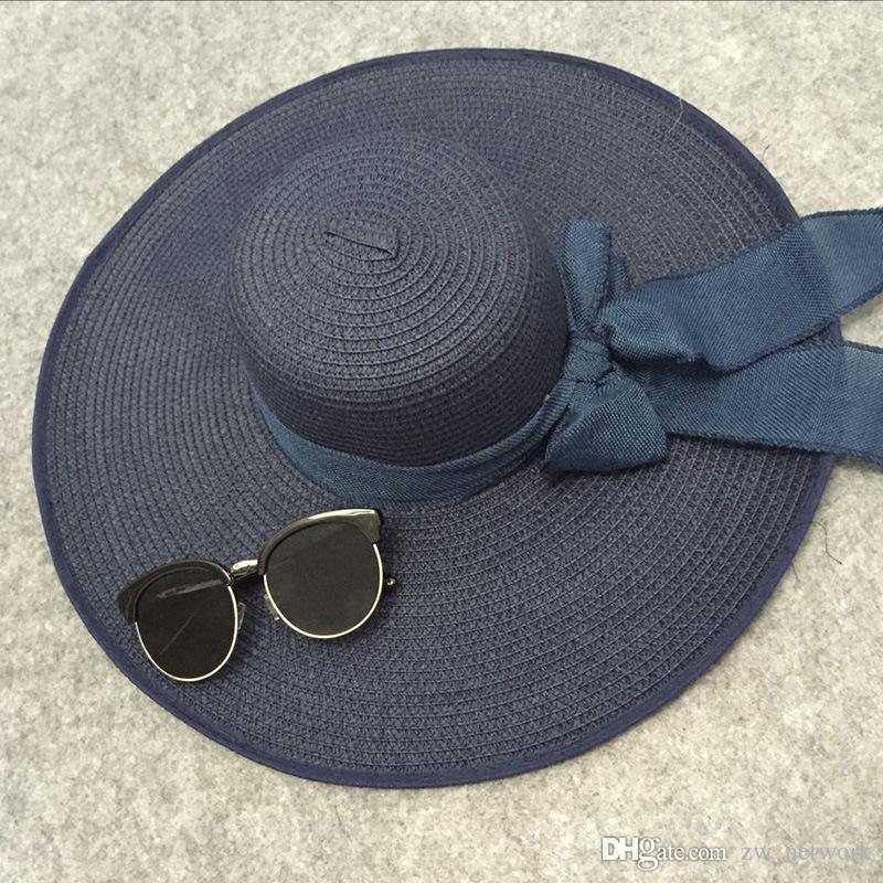 2018 Fashion Floppy Wide Brim Straw Hats With Ribbon Summer Spring Wide  Brimmed Sun Hats Foldable Beach Hats For Women With Big Heads Panama Hats  Fedora ... dbadfad7e4ec
