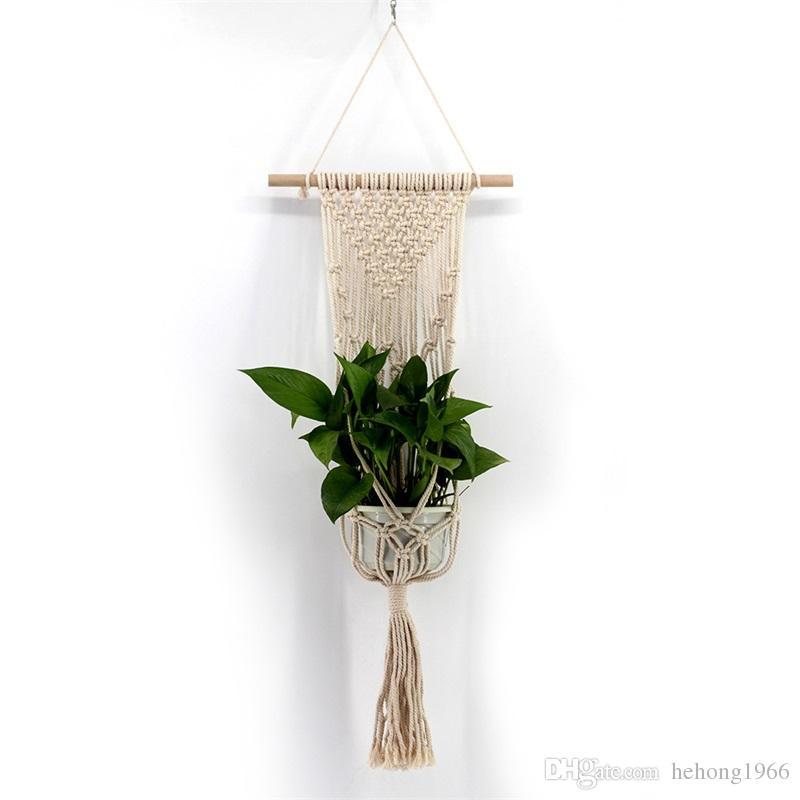 Bohemia Flower pot Handmade Weave Tapestry Suspension White Cotton Planters Net Wall Hanging Basket Fabric Art Tassels 17 5jj V