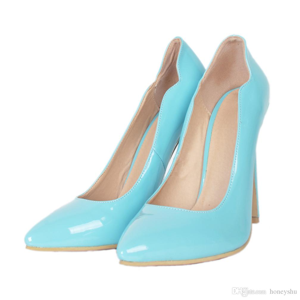 Kolnoo Simple Style Casual Handmade Style Ladies Women High Heel Pumps Patent Leather Pointy Slip-on Party Prom Office Fashion Shoes A052