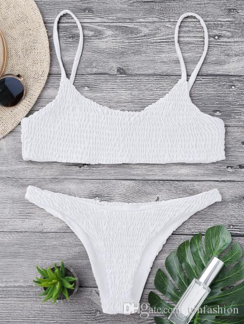 Women Swimwear Bikini Cami Smocked Bikini Top and Bottoms Sexy Low Waisted Spaghetti Straps Swimsuit Women Bathing Suit