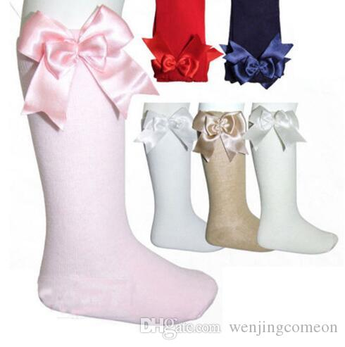 8c298ce09 Baby Girls Knee High Socks Kid Children Cute Lace Bows Princess Leg Warmers  Solid Cotton Sock New Baby Girl Long Socks 0 4YY Socks Online Buy Cheap  Fashion ...