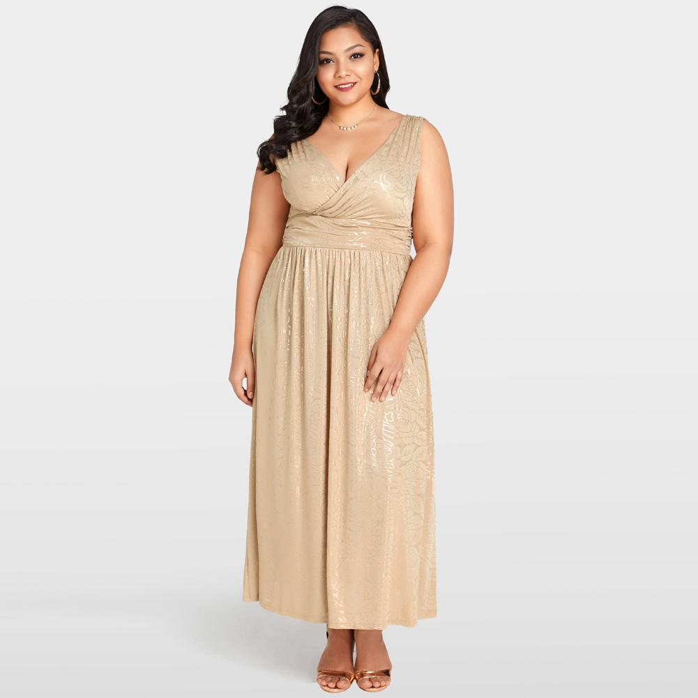 690aa520a63f1 Sexy Women 3XL 4XL 5XL Plus Size Dress Gold Floral Print Maxi Dress Deep V  Neck Banded Waist Evening Party Club Long Dress Khaki