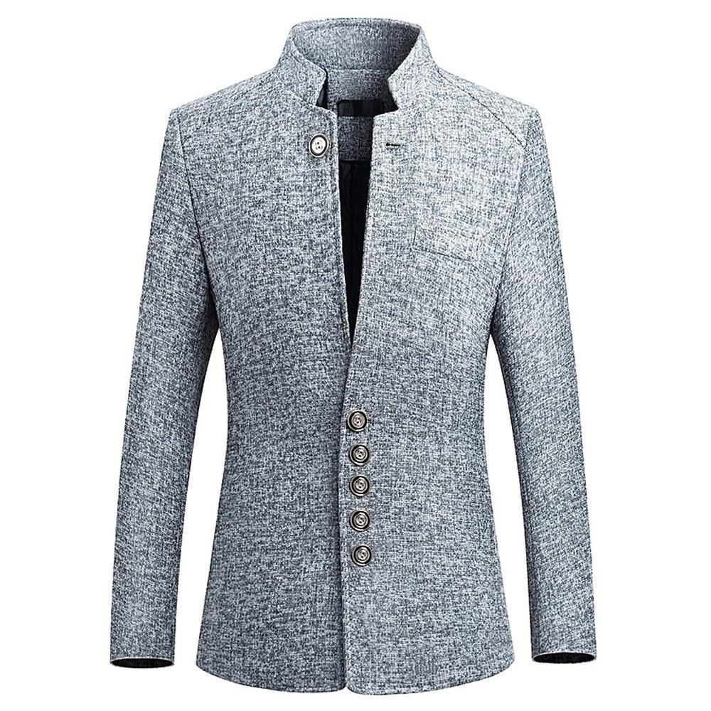 e069084089e954 Business Casual Anzug Für Männer Neue VogueMale Herbst Frühling Anzug Mode  Stehkragen Anzüge Chinesischen Stil Blazer Mantel M-4XL