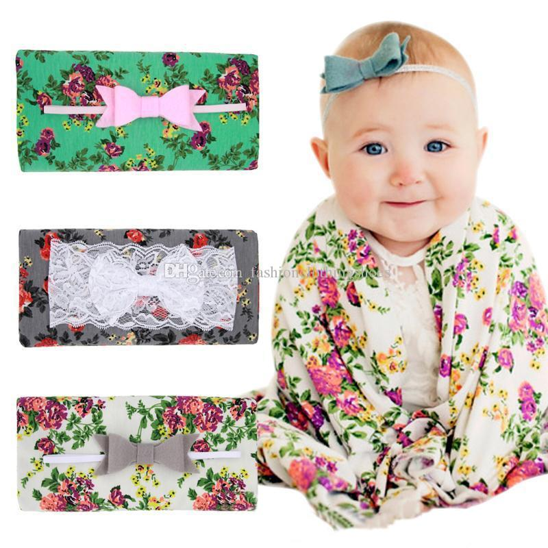 Newborn Baby Swaddling Blankets Lace Bow Headbands Set Baby Floral