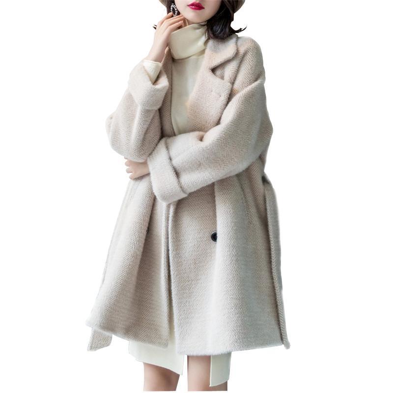Satın Al Yüksek Kalite 2018 Yeni Vintage Kadınlar Yün Uzun Yün Ceket  Sonbahar Kadın Kış Ceketler Zarif Kadın Sıcak Ceket YM1031 4cd9d4ca2d3