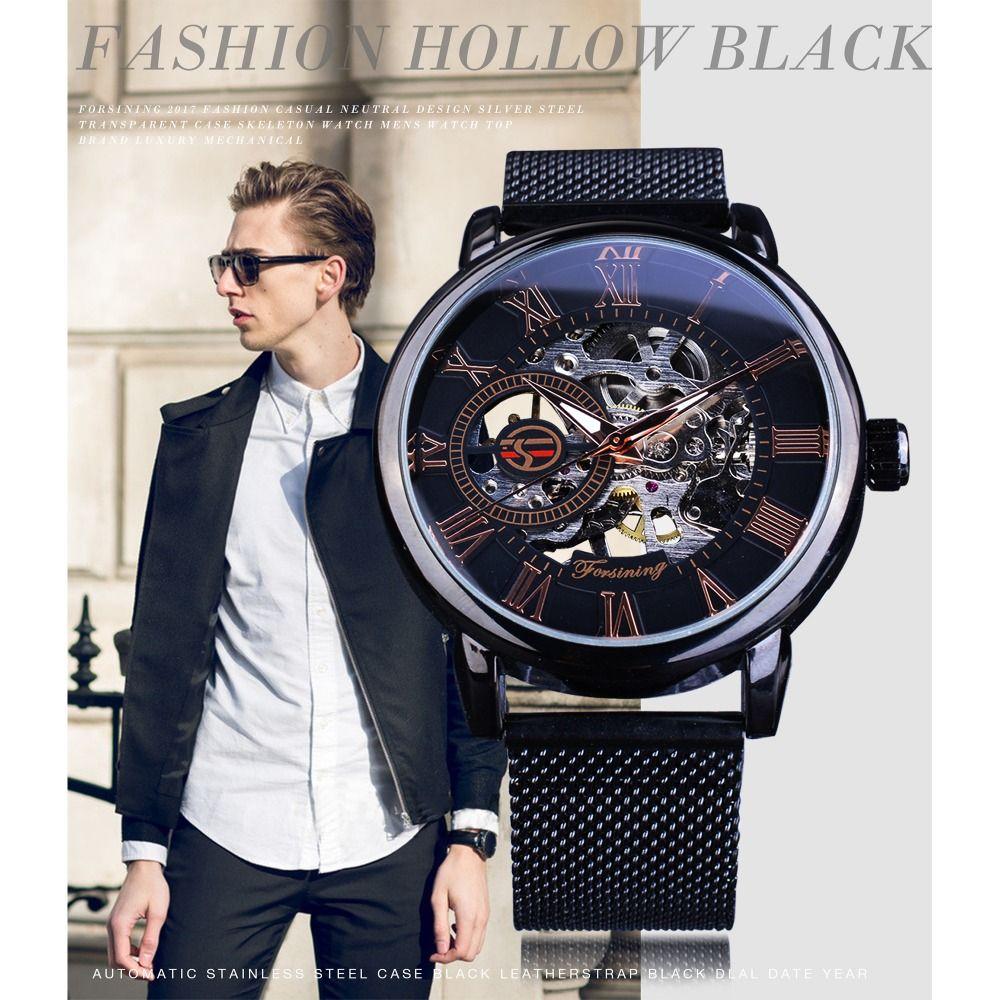9cb338b5ef3a Compre En s Watches Relojes De Pulsera Mecánicos Forsining Black ...