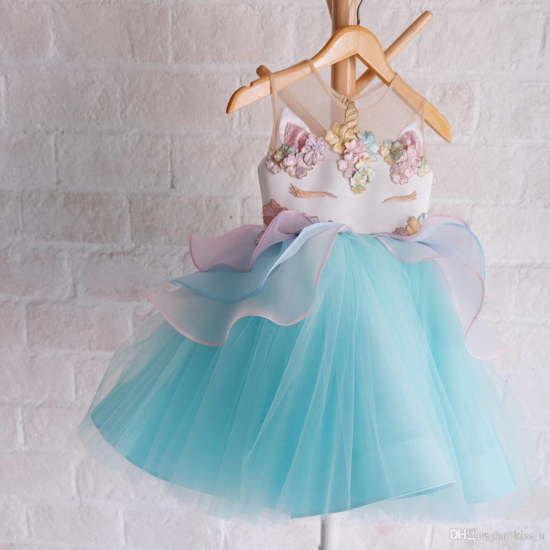 Fancy Kids Unicorn Tulle Dress for Girls Embroidery Ball Gown Baby ...