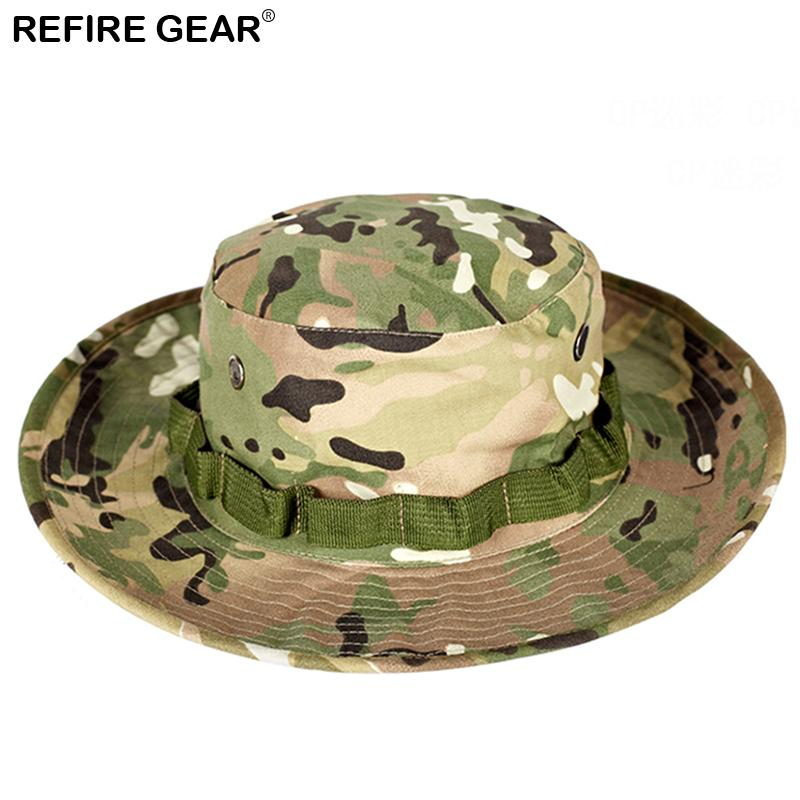 1c39a5e8aa2 2019 Summer Outdoor Camouflage Bucket Hat Men Camo Wide Brim Fishing Boonie  Hat Hiking Breathable Camping Hunting Cap From Stem