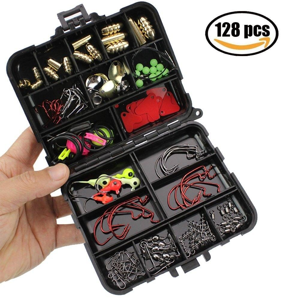 128Pcs/Set Fishing Accessories Tackle Box Fish Hook Fishing Gear Accessories Storage Box hot sale fishing tools FFA438
