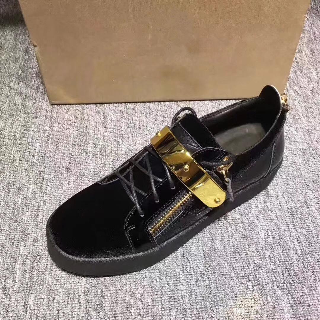 3a9f2c2339b9 2018 Hot Genuine Leather Flats Designer Sneakers Men Women Classic ...