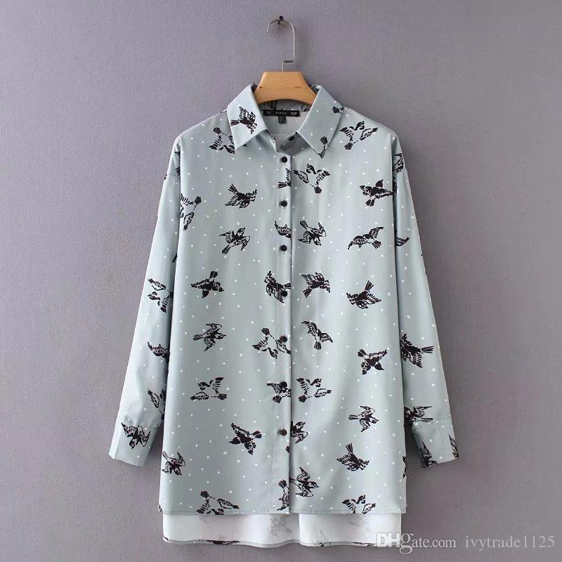 NEW WOMEN CLOTHING FASHION TURN DOWN COLLLAR FULL BIRDS PRINT BLOUSE LONG SLEEVE WHITE LADY SHIRT