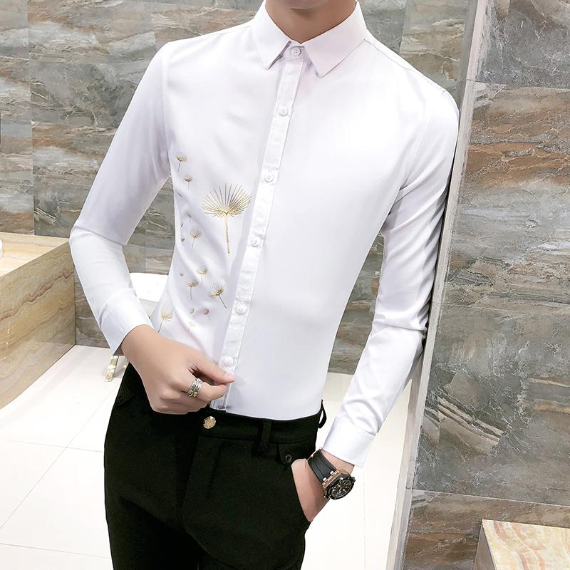 Grosshandel Fruhling 2018 New White Shirt Men Fashion Print Slim Fit
