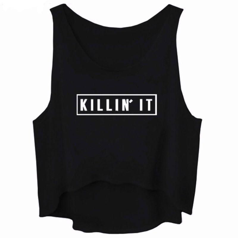 bbfe040ddf21f 2019 Women Graphic Sleeveless Tank Crop Top Teen Girls Cute Tee Shirt From  Baldwing
