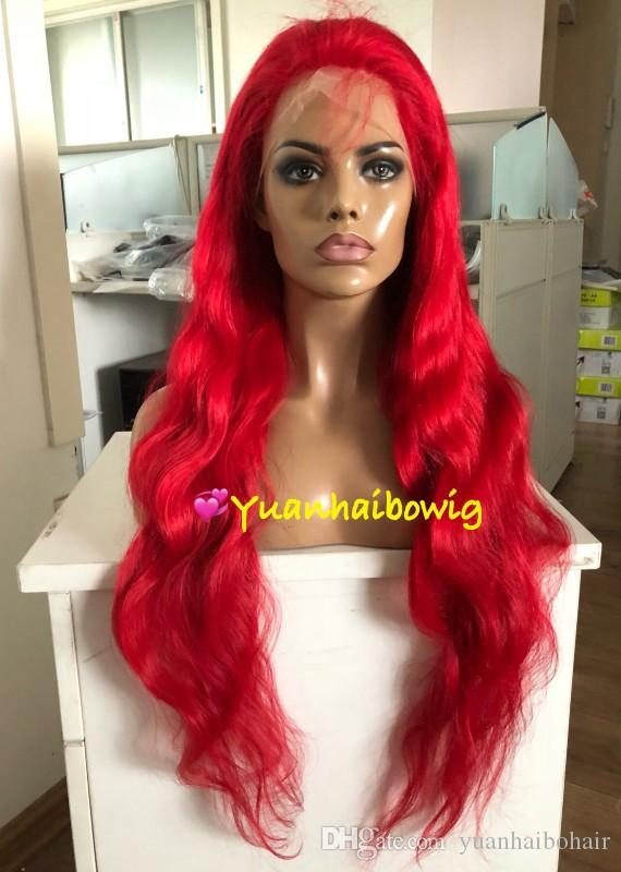 Red Full Lace Wigs Fashion Celebrity Wigs Vigin Malaysian Human Hair Lace Front Wigs Body Wave