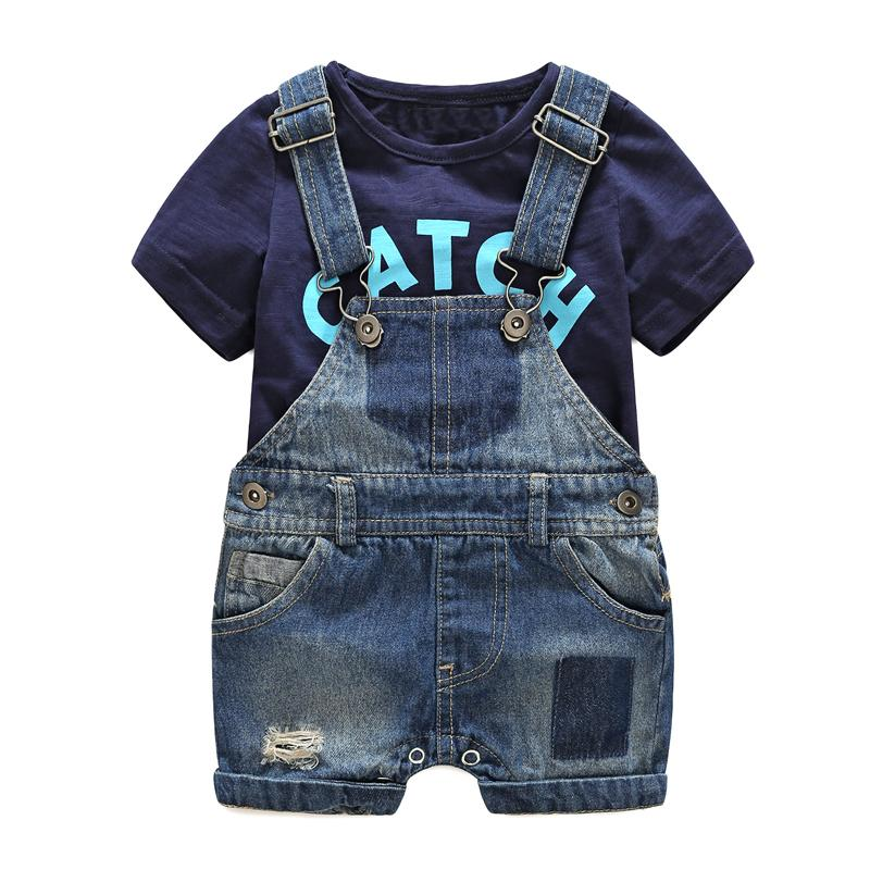 9a2a035d373 2019 Summer Baby Clothes Babeis Fashion Newborn Denim Overalls T Shirt  Cotton Baby Costume Hot Sale Baby Boy Clothes Size Sets 70 80 90 95 From  Runbaby