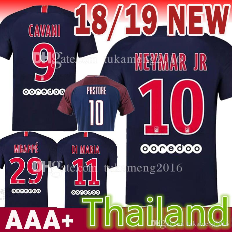 4feeca496 2019 18 19 Paris Saint Germain 7 Mbappe Soccer Jersey 2018 2019 6 Verratti  9 Cavani 10 11 DI MARIA 29 Mbappe 2 T SILVA Football Uniforms From  Tukameng2016