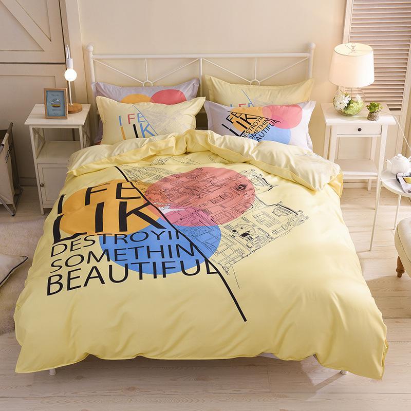 Yellow Double Bed Linens Duvet Cover Flat Bed Sheet Pillowcase Quilt