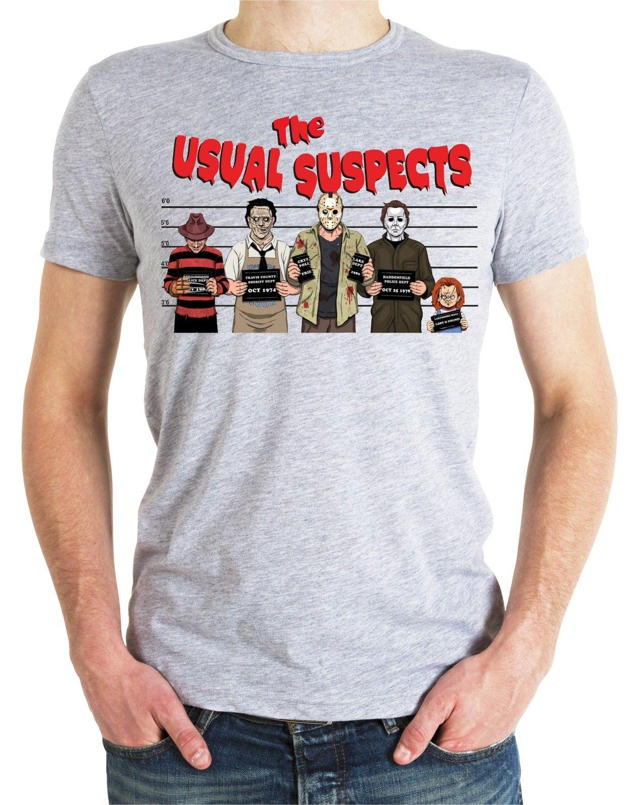 Halloween Usual Suspects T Shirt Top Chucky Freddy Krueger Zombie Jason Blood gr Cool Casual pride t shirt men Unisex New