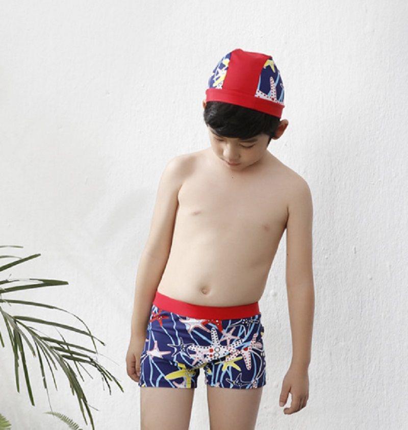 Bebés Meninos Swimwear Shorts Crianças Praia Swim Briefs e Cap Para Summer Beach Swimming 2-10T, Azul