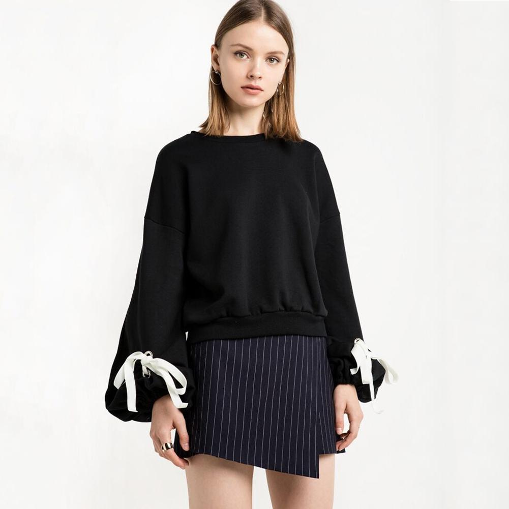 Women Loose Fleece Hoodies Lace Up Bandage Cuff Round Neck Long Sleeve  Sweatshirts Casual Winter Sweatershirt Pullover Top Black Online with   33.47 Piece on ... 36db17fb1
