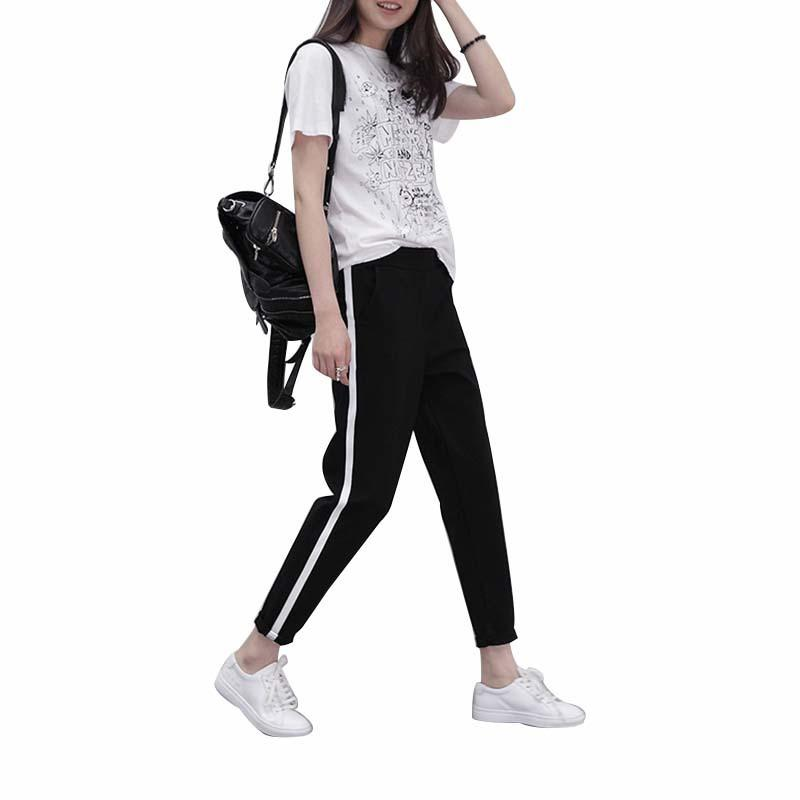 Compre MOBTRS Top Moda Mujeres Rayas Pantalones Harem Para Mujer Negro  Pantalones De Cintura Alta Casual Pantalones Sueltos Pantalones Mujer  D1892602 A ... 6e6a89d82dff