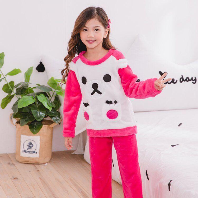 e3f8173a6 2019 Children Fleece Pajamas Winter Thicken Warm Flannel Sleepwear ...