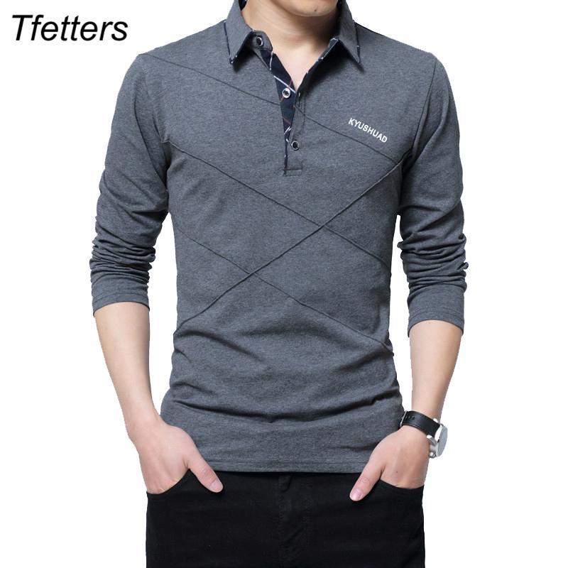 ec1fe3e346 Tfetters Brand T Shirt Men Long TShirt Turn Down Stripe Designer T Shirt  Slim Fit Loose Casual Cotton T Shirt Male Plus Size Funny Tshirts Long  Sleeve ...