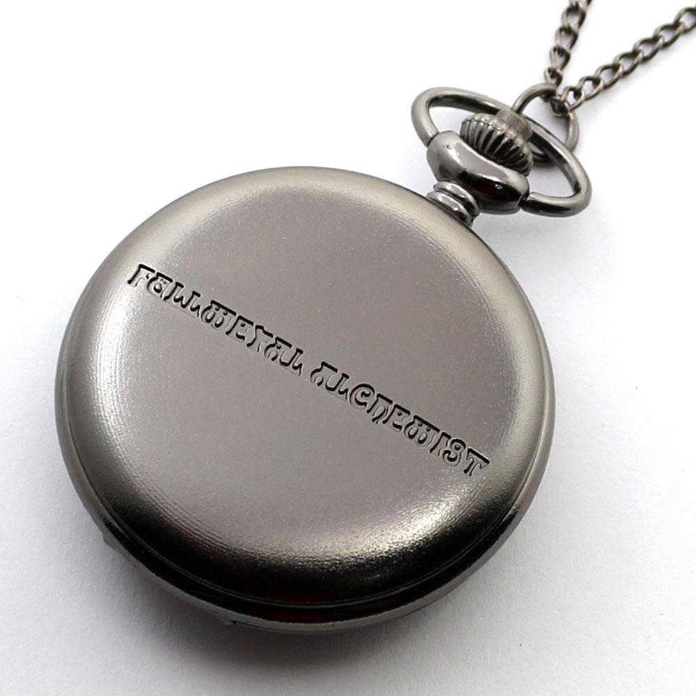 Prata preta Fullmetal Alchemist Quartz Relógio de Bolso Colar de Corrente De Couro Box Bag Relogio De Bolso Conjuntos de Jóias Presentes