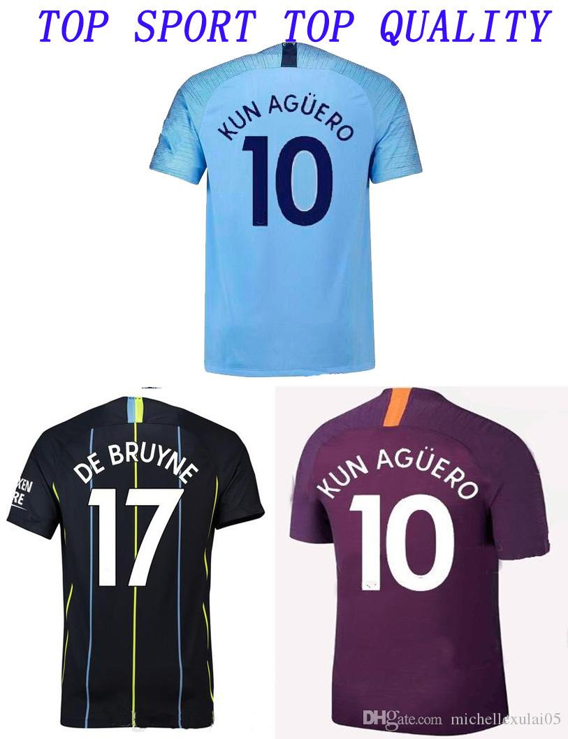 7106fb05059 2019 2018 2019 KUN AGUERO Soccer Jerseys 18 19 DE BRUYNE SILVA JESUS  GUNDOGAN WALKER Football Shirts Adults Top Thai Quality Sports Uniforms  From ...